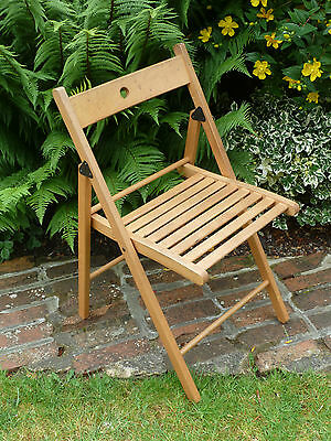 Vintage Folding Wooden Slatted Chair Garden