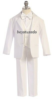 Boy's White Formal Dress Classic Tuxedo w/ Satin Vest Jacket Shirt Tie All Sizes