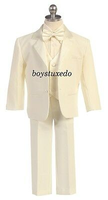 Boys Ivory Beige Formal Dress Tuxedo Suit Jacket Satin Vest  Shirt Tie All Sizes