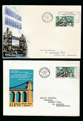 Wales 1968 Menai Bridge First Day Covers Special Postmark...2 Diff Illustrated