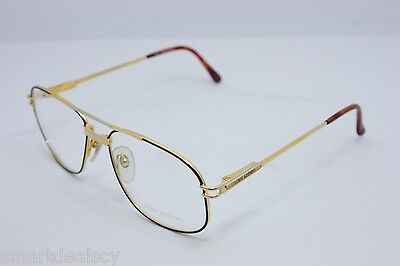 Loris Azzaro Intense 210 19 56mm 18-K Gold Black Eyewear Eyeglass Frames