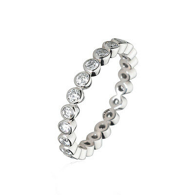 18K White Gold Stackable CZ Eternity Band Pure 925 Sterling Silver Ring All Size