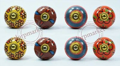 8 Pieces Dotted Multi color Kitchen / dress Ceramic Knobs Cupboard drawer Pull