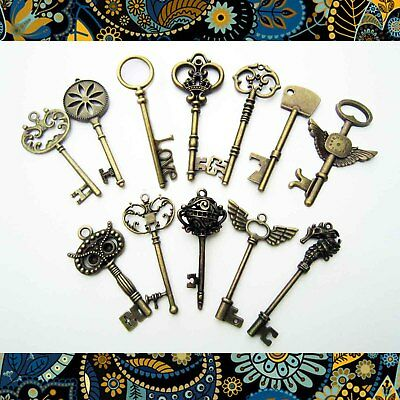 12 Heavy Duty Large Antique Vtg Old Look Skeleton Key Pendant Bow Charms Jewelry
