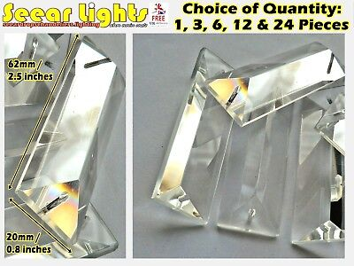 Chandelier Cut Glass Crystals Droplets Drops Oblong Prism Coffin Bag Light Parts