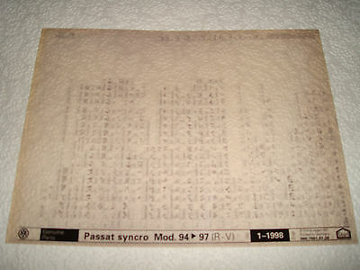 VOLKSWAGEN PASSAT SYNCRO MOD.94 to 97 (R.V) PARTS MICROFICHE SET OF 1 JAN.1998