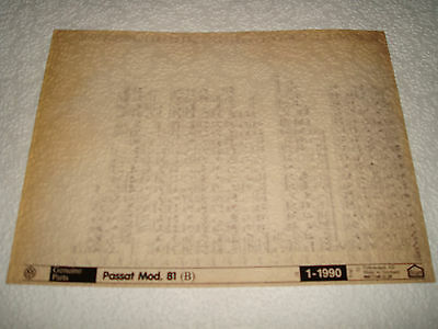 Volkswagen Passat Model 81 (B) Parts Microfiche Full Set Of 1 - Dated Jan.1990