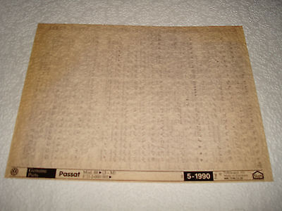 VOLKSWAGEN PASSAT MOD.88on (J-M) PARTS MICROFICHE FULL SET OF 1 - DATED MAY 1990
