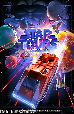 Anaheim California Disney Star Tours United States Travel Advertisement Poster