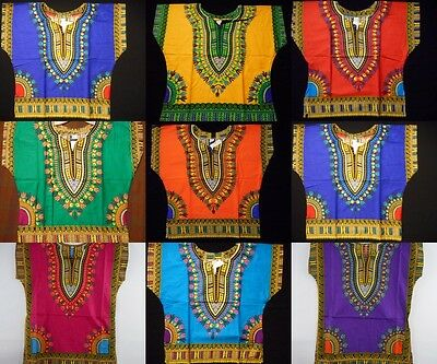 Kids Dashiki Boys African Maxican Poncho Hippie Blouse Girls Shirt Top One Size