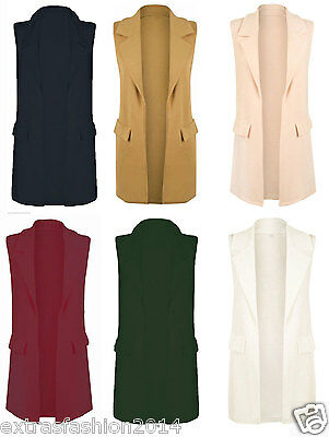 Womens Ladies Sleeveless Long Duster Coat Waistcoat Smart Blazer Plus Size