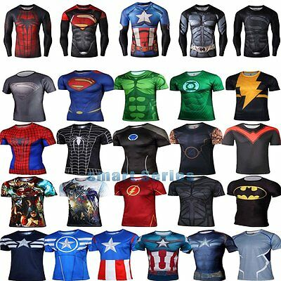 Mens DC Comic Superhero Marvel Cycling T-Shirts Short Sleeve Tee Bicycle Jersey