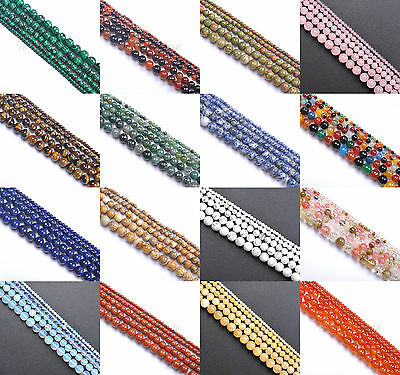 Natural Gemstones 4MM 6MM 8MM 10MM 12MM Round Spacer Beads 15.5'' Jewelry Design