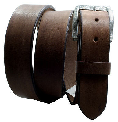 """Paul &Taylor BROWN Hand Oiled Leather BELT Vintage Look Snaps 1-1/2"""" Wd 9702"""