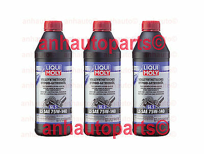 BMW 00-12 M Set of 3 Differential Oil 1.5L Synthetic LIQUI MOLY diff fluid
