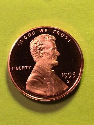 1993-S 1c Lincoln Memorial Cent (PROOF) Gem Deep Cameo Proof Flawless < LOOK>