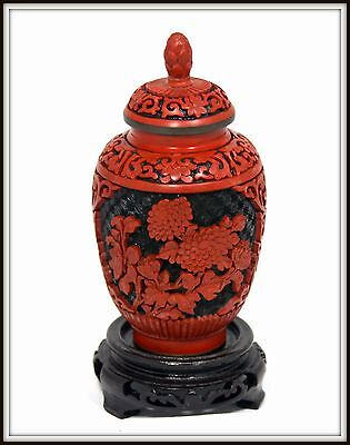"""AMAZING !  """"Chinese Cinnabar Ginger Jar"""" with Hand Carved Stand"""