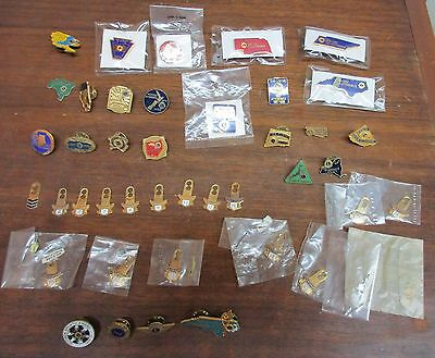 Large Lot of Lions Club 100% Attendance Pins, Chevrons, & Other Pins Lot of 42