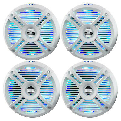 "4 X New 6.5"" Inch Marine Boat Waterproof Stereo Speakers W/LED Lights & Remote"