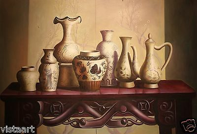 "Quality Oil Painting on Stretched Canvas- 24x36"" Exquisite Vases on Table"
