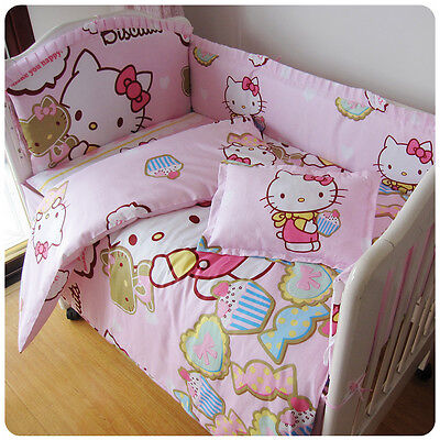 Cotton Baby Bedding Crib Cot Bumpers Quilt Sheet Pillow Set - New Kitty Pink