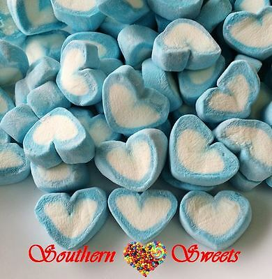 BLUE & WHITE HEARTS MARSHMALLOW 1kg Lollies Bulk Candy Buffet Weddings