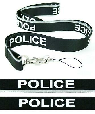 BLACK POLICE Neck Strap Satin REFLECTIVE VISIBLE Lanyard BE SEEN AND BE SAFE