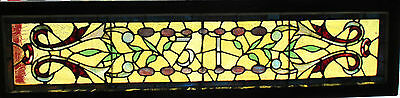 ~ ANTIQUE AMERICAN STAINED GLAS TRANSOM WINDOW  56x14 ARCHITECTURAL SALVAGE ~