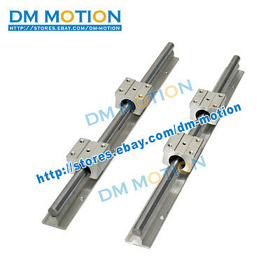 2 SBR12 L200mm rails shaft support + 4 SBR12UU Blocks linear bearing slide unit