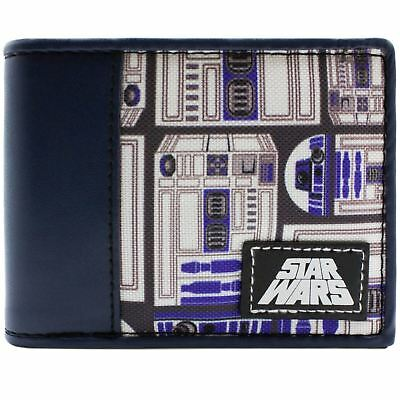 New Official Awesome Star Wars R2-D2 Droid Blue & White Bi-Fold Wallet