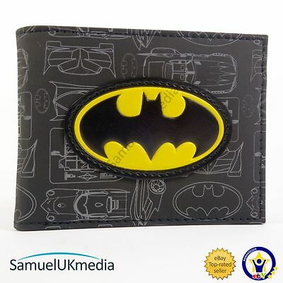 New Official Awesome Batman Symbol & Batmobile Silver Drawings Bi-Fold Wallet
