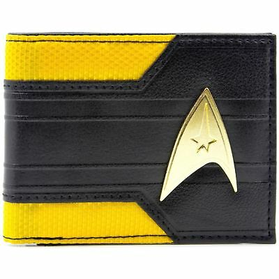 New Official Awesome Star Trek Yellow & Gold Command Logo Bi-Fold Wallet