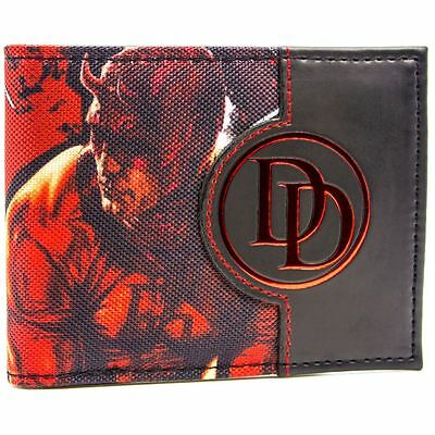 New Official Awesome Marvel Dare Devil Dd Character And Logo Bi- Wallet