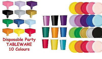 Plain Disposable Paper Party Tableware Wedding Colours Birthday Event Occasion