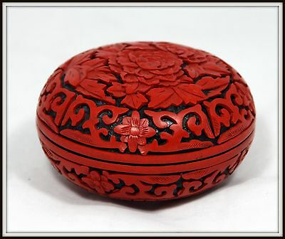 "INCREDIBLE""Chinese Round Cinnabar Trinket Box"" with Rose Design on Lid"