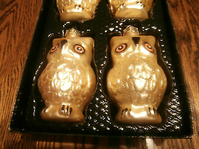 Lot of 4 Glass Owl Ornaments - Gold - New in Box
