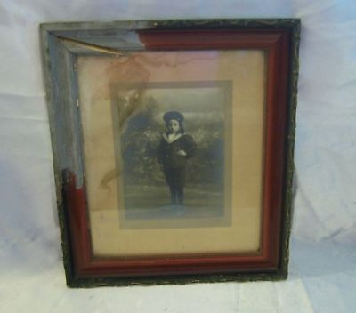 Antique Blk & White Photo of a German Boy Framed