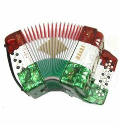 Fever Button Accordion 31 Keys 12 Bass on GCF Key, Red, White, Green
