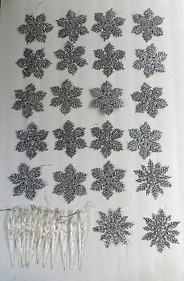 Glitter Snowflake & Icicle Holiday Winter Christmas Tree Ornaments set of 35