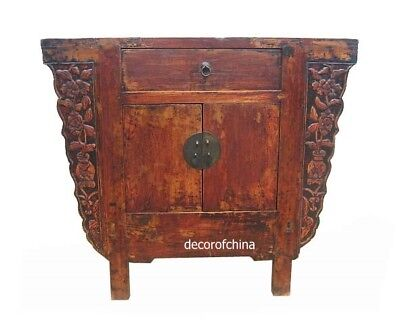 Chinese Antique Wooden Cabinet Table w/Carving HE15-02