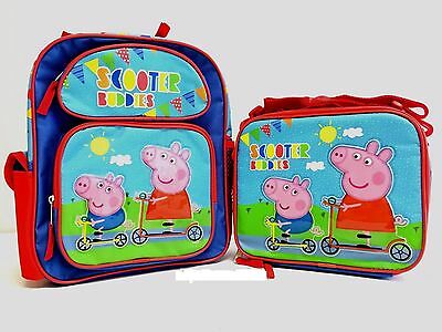 """Peppa Pig Small Backpack 12"""" inches & Lunch Box NEW Licensed - Scooter Buddies"""