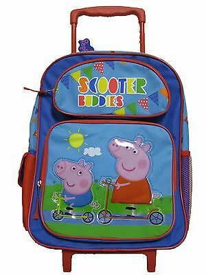 """Peppa Pig Large 16"""" inches Rolling Backpack - Scooter Buddies BRAND NEW Licensed"""