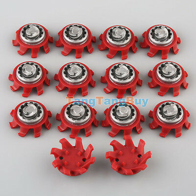 14 / 28 Pcs Red Golf Shoes Spikes TRI-LOK Fast Twist Replacement For Footjoy