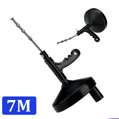 Drain Cleaner 7m Portable Spinning Sewer Snake Clog Cable Auger Plumbing 25ft