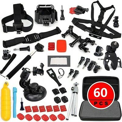 60 IN Accessories Set for Gopro HD Hero 2 3 3+ 4 Monopod chest Strap Holder Bag