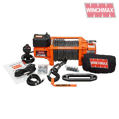 ELECTRIC WINCH 12V RECOVERY 4x4 17500 lb WINCHMAX WIRELESS REMOTE SYNTHETIC ROPE