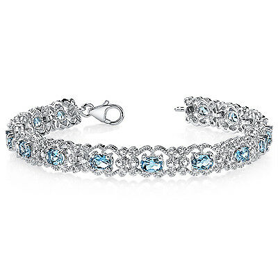 8.5 CT Oval London Blue Topaz Sterling Silver Bracelet