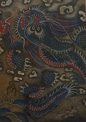 Very Fine Large Korean Joseon Dynasty Blue Dragon Chung Yong Painting on Scroll