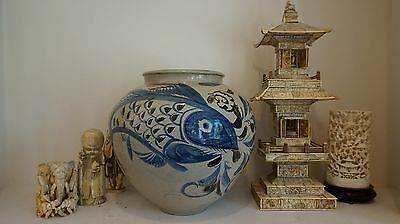 Very Fine Rare Large Korean Late Joseon Dynasty Blue,Iron & White Fish & Flower