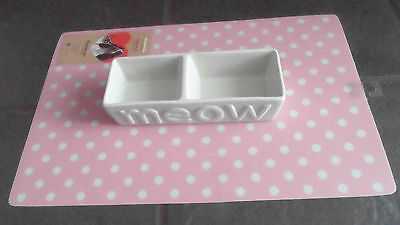 Ancol Meow Double Cat Bowl Ceramic 20Cm Brown Pink Or White Stylish Cat Dish